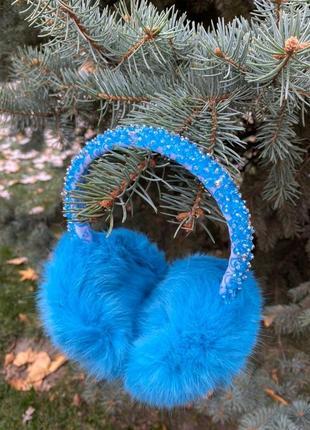 Меховые наушники для девочек в нежно-голубом цвете. меховая шапка. голубая повязка