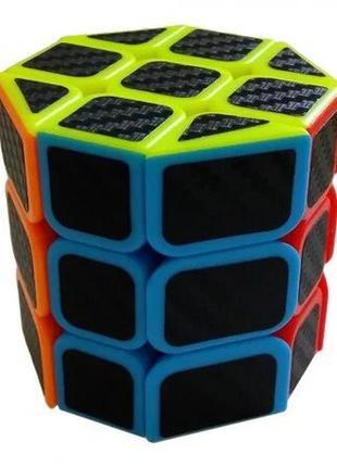 Кубик рубика цилиндр карбон + подставка в подарок