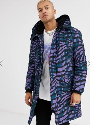Теплая зимняя парка куртка с капюшоном и тигровым принтом asos design