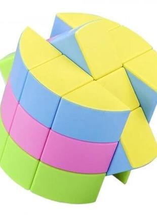 Акция! кубик рубика цилиндр без наклеек + в подарок подставка