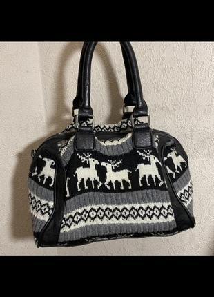 Мини сумка женская тканевая кожа чёрная серая с оленями новогодняя