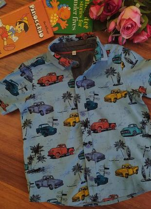 Шикарная хлопковая рубашка с рисунком marks& spencer на 4-5 лет.