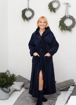 Теплый махровый халат в пол