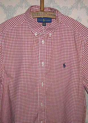 Новая мужская клетчатая рубашка ralph lauren с коротким рукавом