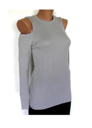 Актуальный джемпер в рубчик с открытыми плечами, новый, доставка бесплатно.