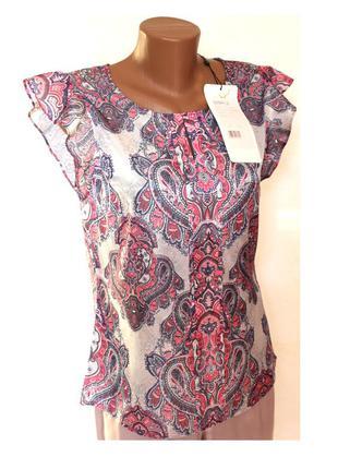 Нежная шелковая блуза в пастельных тонах, с биркой, доставка бесплатно.