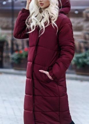 Куртка пуховик зимняя из плащевки с капюшоном