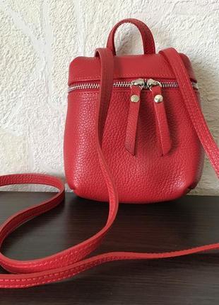 Сумка-рюкзак 29535 /италия/ мини натуральная кожа красный