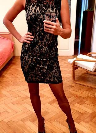 Вечірня коротка гіпюрова сукня