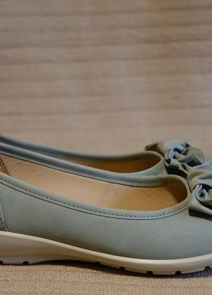 Красивые фирменные туфли-балетки из нубука мятного цвета hotter англия 38 р.