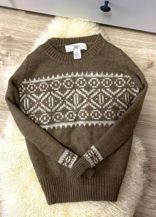 Тёплый свитер в новогодний принт шерсть альпака швеция