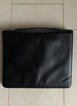 Кожаный органайзер портфель audi размер 36,5/30 см