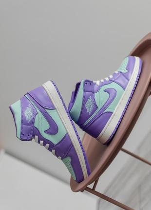 Женские кроссовки nike air jordan 1 mid purple aqua