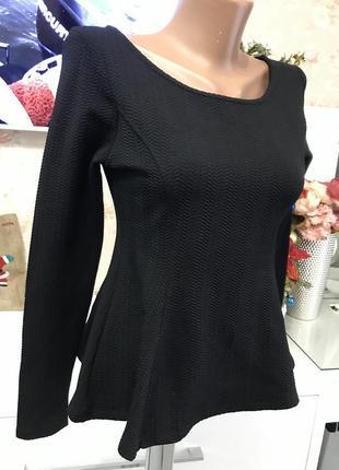 Структурная черная блуза с баской блузка с утяжкой h&m