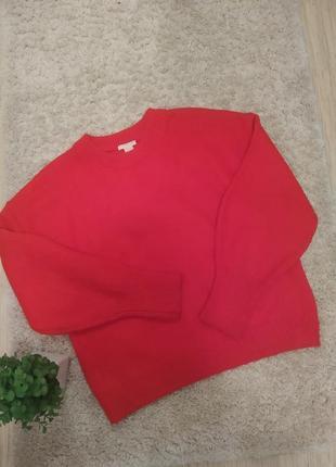 Шерстяной обьемный свитер оверсайз hm.