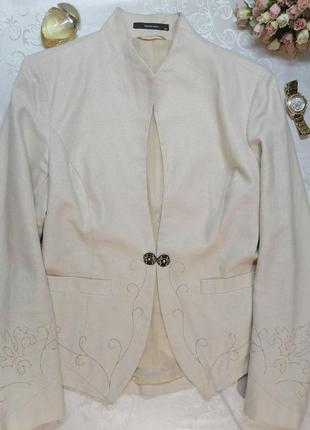 Пиджак green house льняной с люриксом нарядный бежевый
