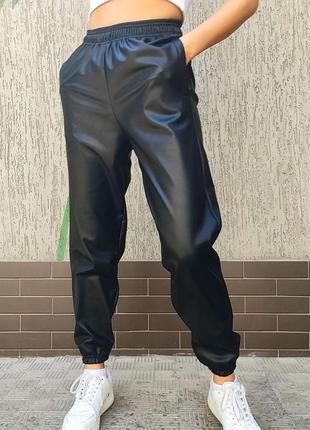 Кожаные джогеры на меху 42,44,46,48 , кожаны штаны, зимние штаны, джогеры (арт 199)