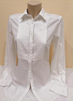 Элегантная  блуза рубашка marks&spencer белая , стильная драпировка
