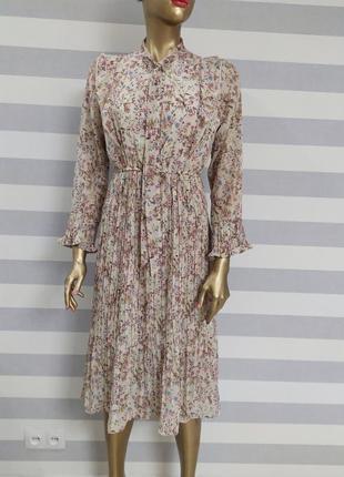 Воздушное платье пллисировка в цветочный принт