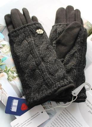 Женские кашемировые перчатки с вязкой черные