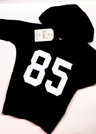 Черное спортивное детское платье туника худи для девочки с капюшоном номером рисунком 85