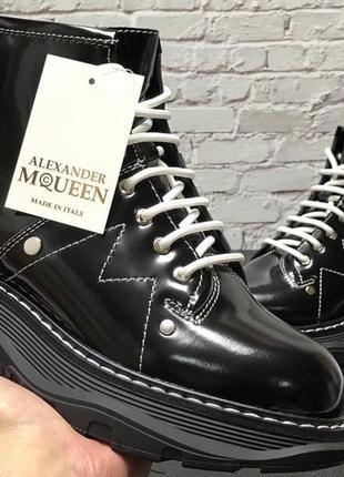 Зимние женские кожаные ботинки на меху alexander mcqueen boots