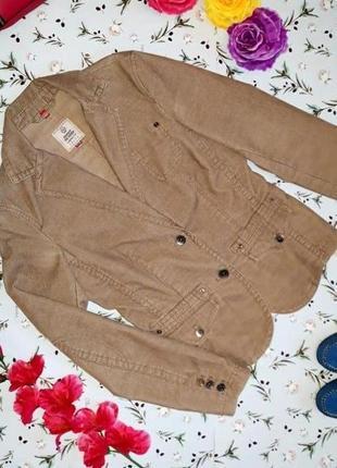 🎁1+1=3 стильный бежевый женский пиджак микровельвет esprit, размер 44 - 46