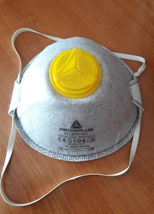 Ffp2 настоящая зимняя защитная универсальная маска респиратор deltaplus франция с клапаном