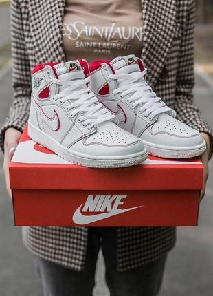 """Nike air jordan retro 1 """"white red """"🆕шикарные кроссовки найк🆕купить наложенный платёж"""