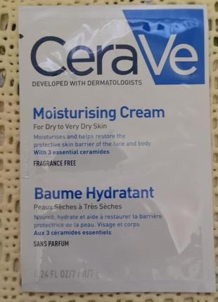 Cerave увлажняющий крем для сухой и очень сухой кожи лица и тела , 7 мл