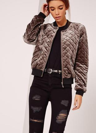 Стильная велюровая куртка бомбер размер л