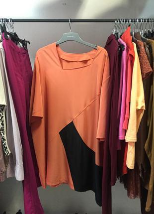 Платье оверсайз  , персиково 🍑 чёрное