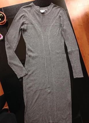 Серое теплое платье мелкой вязки осень/зима