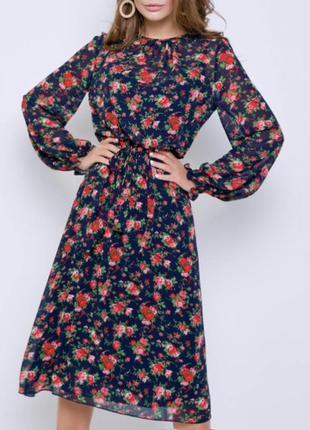 Эффектное платье в цветочный принт, длинное, миди, цветы grand ua