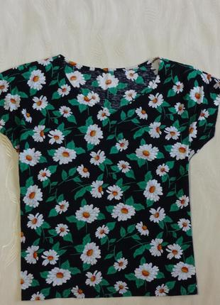 Блуза футболка в принт ромашки stmichael, р.12-14