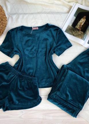 Велюровый изумрудный костюм тройка, футболка, шорты и штаны, пижама