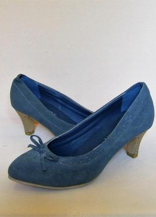 """Серо-голубые классические замшевые туфли """"bodyflirt"""", размер 37.5"""