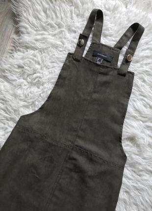 Комбинезон юбка под замш хаки