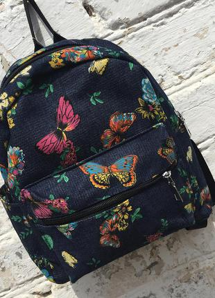 Рюкзак джинсовый, мини рюкзак– принт бабочки в подарок чокер