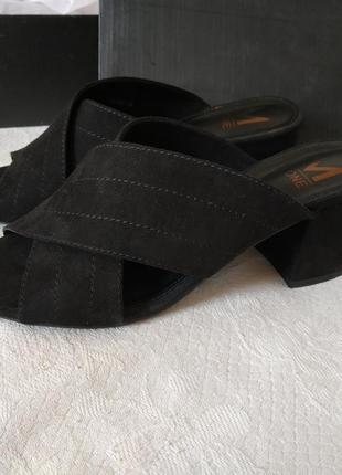 ❤️сабо на каблуке ❤️экозамша💥💣 черные m wone р.38 24,5 см новые❤️😍❤️