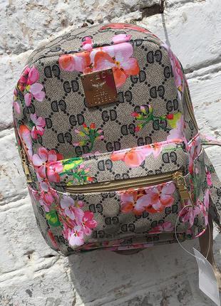 Бежевый рюкзачок,рюкзак,минирюкзак с розовыми цветами