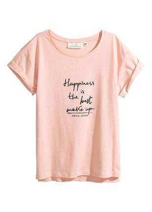 Стильная футболка из хлопка с принтованным рисунком от h&m