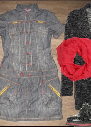 Джинсовое платье, сарафан, платье рубашка,  м, сост 10 из 10