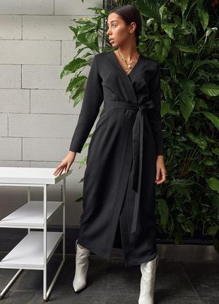 Черное платье на запах