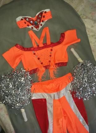 Костюм для черлидинга танцев помпоны оранжевый черлидерши лосины черлидинг