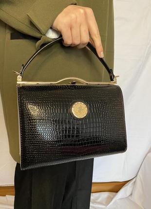 Лакова сумка, стильная сумочка, черная сумка