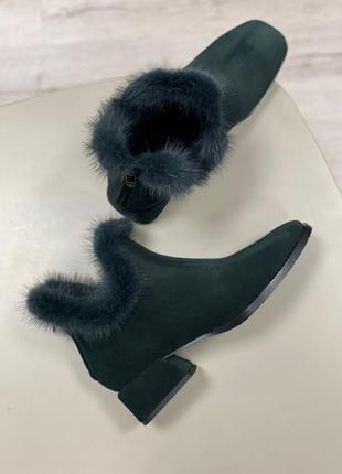 Ботинки с опушкой с натуральной норки полуботинки