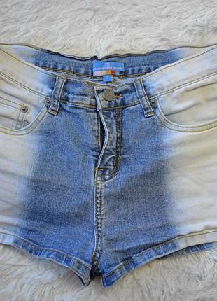 2х цветные джинсовые шортики,  высокая посадка