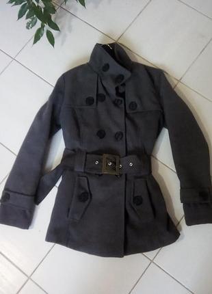 Темно серое пальто из акрила и шерсти