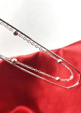 Серебряный двойной браслет серебро 925 пробы с родиевым покрытием красивый подарок девушке дочке